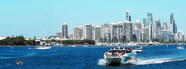 Sunny day on the Gold Coast, two boats